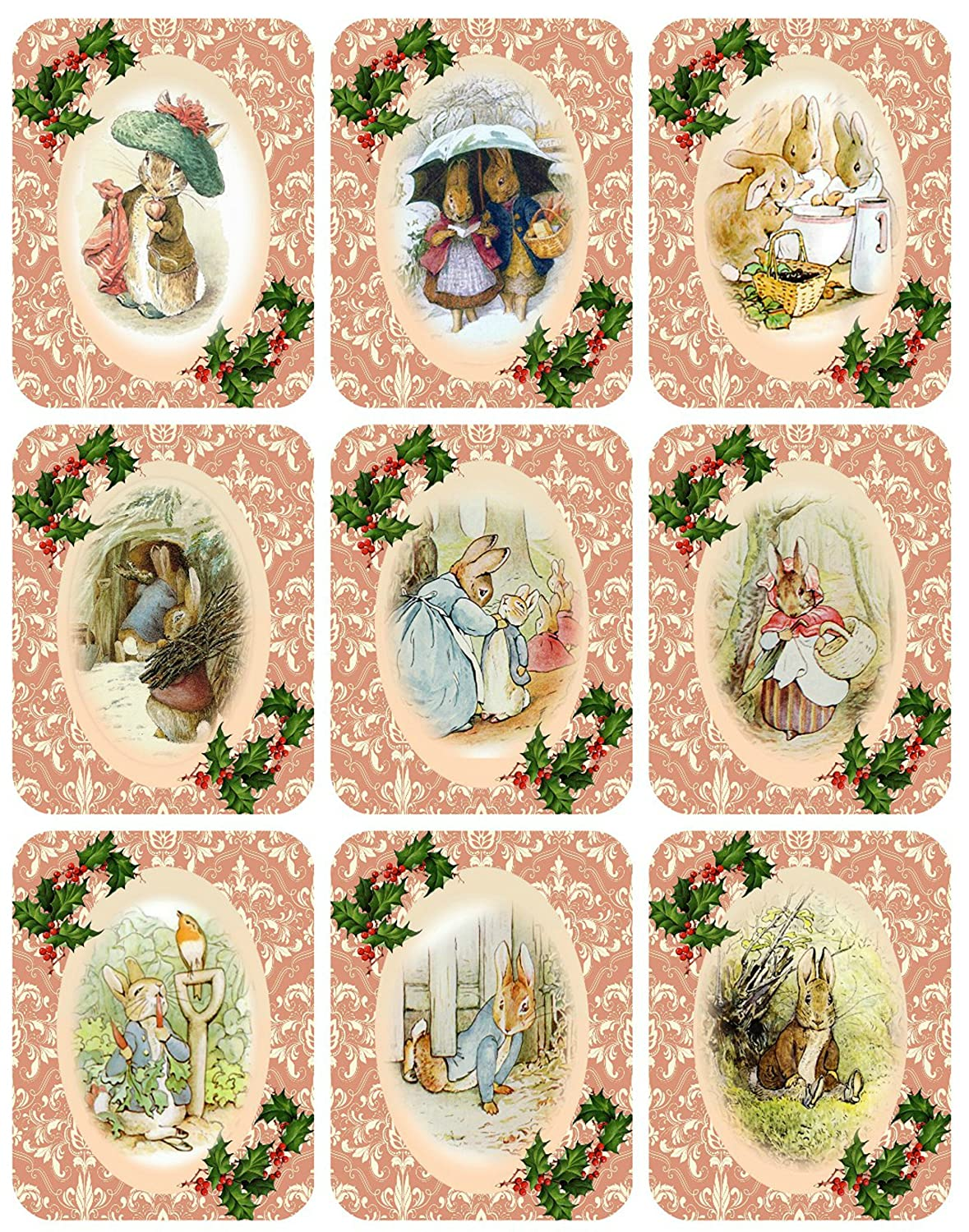 Prints Digital Scrapbooking Peter Rabbit Collection Vintage Victorian Christmas Graphics Collage Sheet ATC Gift Tags 8.5 x 11