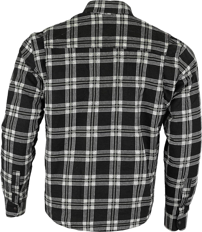 nero e bianco Bikers Gear Australia Limited moto Kevlar Aramid fodera protettiva camicia di flanella a righe taglia L
