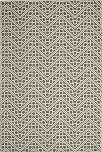 Safavieh Hampton Collection HAM513CD Dark Grey and Ivory Indoor Outdoor Area Rug 8 x 11