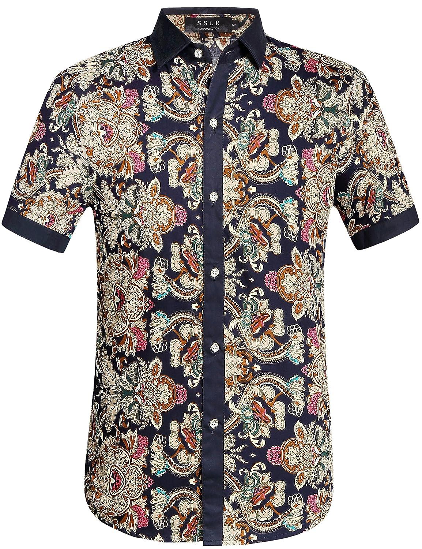 SSLR Men's Flower Casual Button Down Short Sleeve Shirt SN-P0-2DBF-ULO9
