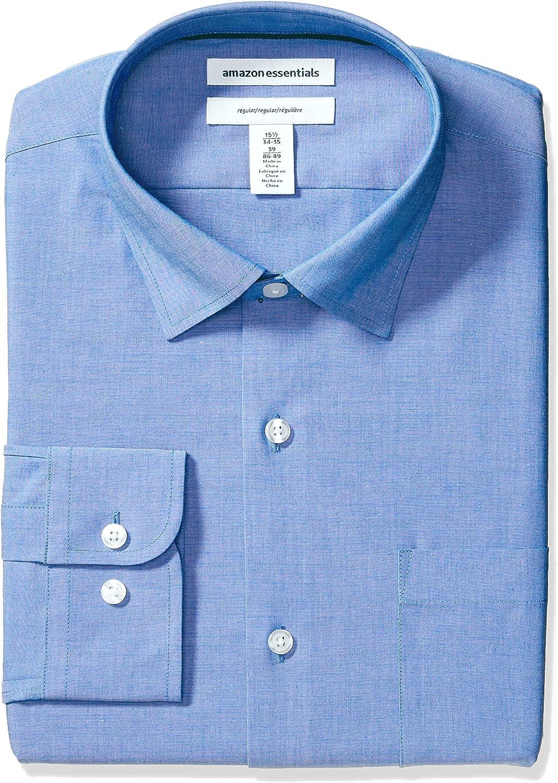 Amazon Essentials Men's Regular-fit Wrinkle-Resistant Stretch Dress Shirt