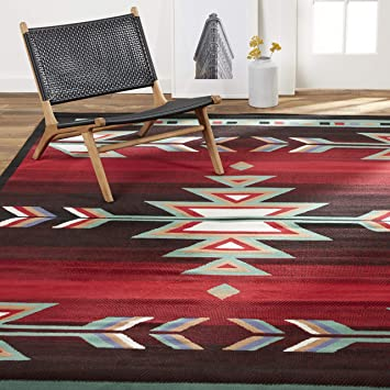 Amazon Com Home Dynamix Sagrada Southwest Area Rug 5x7 Black Red Ivory Furniture Decor