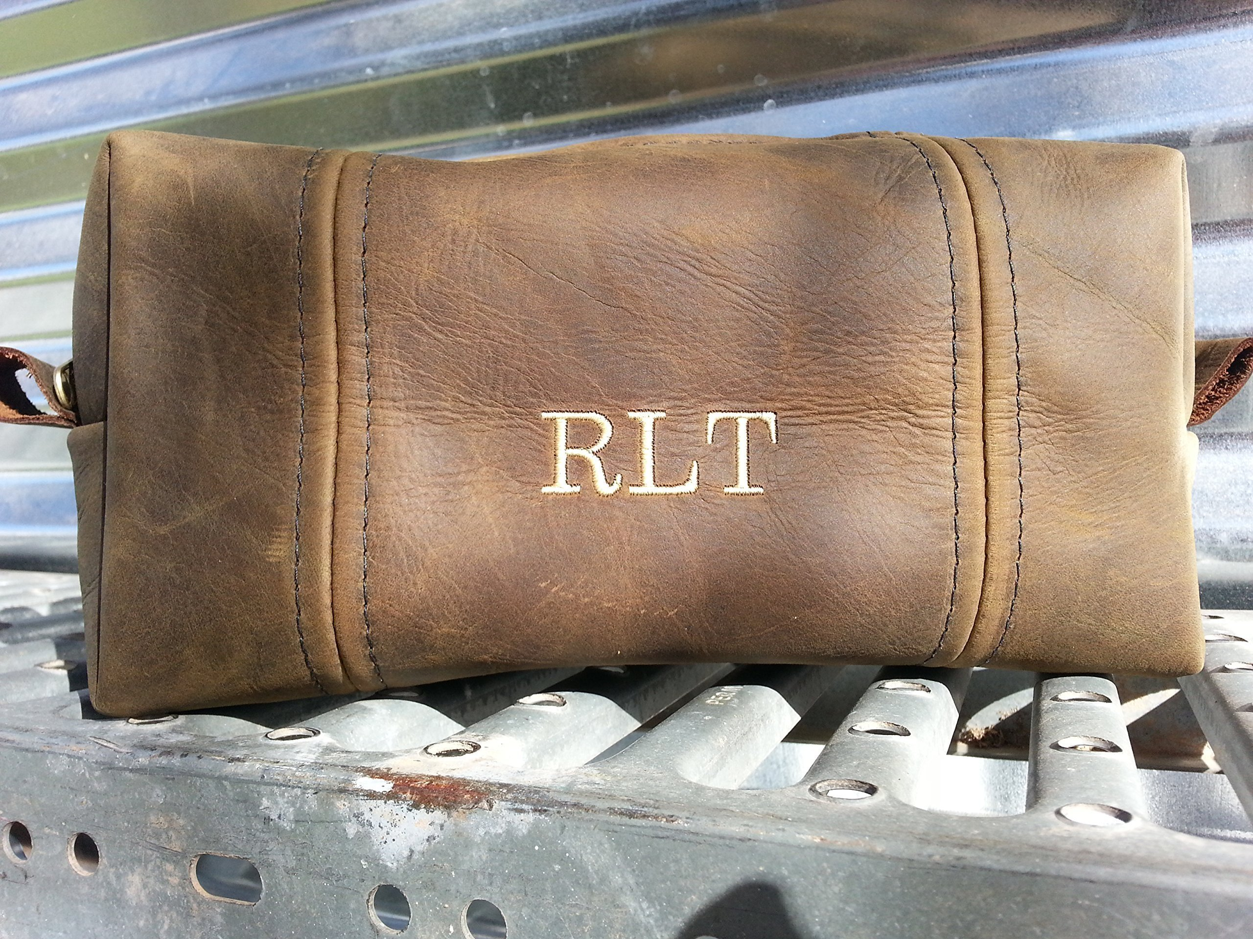 Black Walnut Oiled Steampunk Leather Toiletry Bag