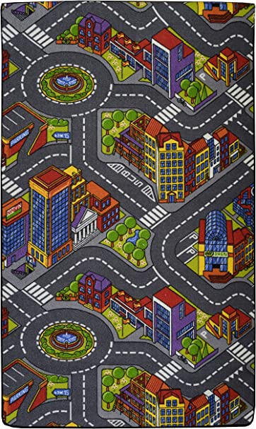 Road Map Playtime Area Rug For Kids 4x6 Country Green Home Area Rugs Pads