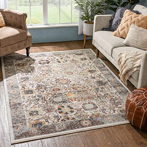 Well Woven Rodeo Grande Ivory Bohemian Floral Botanical Border 7'10″ x 9'10″ Distressed Area Rug