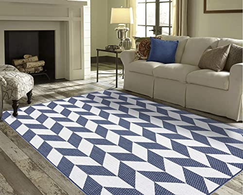 PRIYATE Florida Collection – Geometric Triangle Indoor Outdoor Area Rug. Soft, Durable, Kids Friendly Carpet for Living Room, Bedroom, Dining Room, Patio, Deck, Foyer etc Navy Blue 7 10 X 10