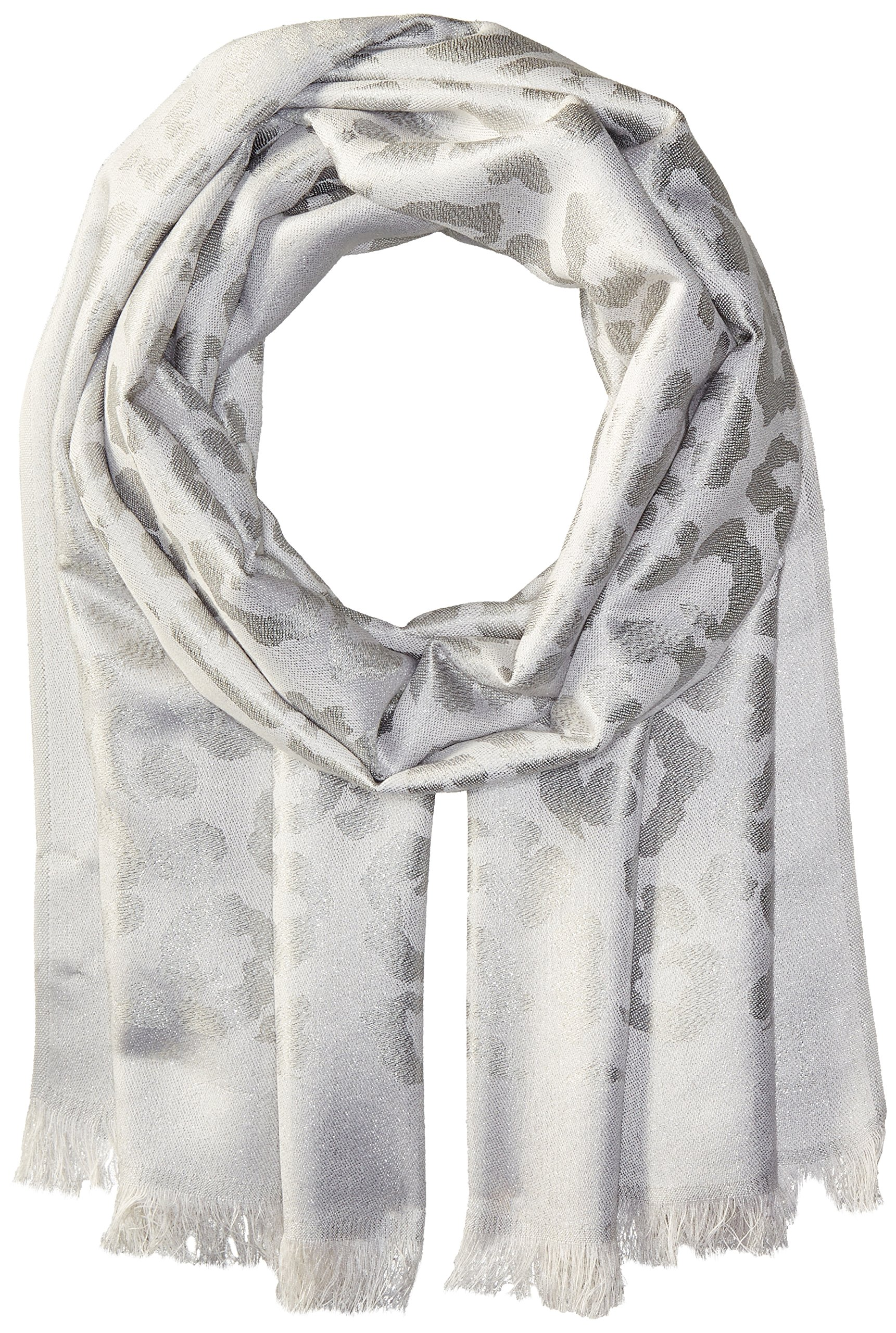 Badgley Mischka Women's Ocelot Lurex Jacquard Wrap Scarf, ivory/silver, One Size