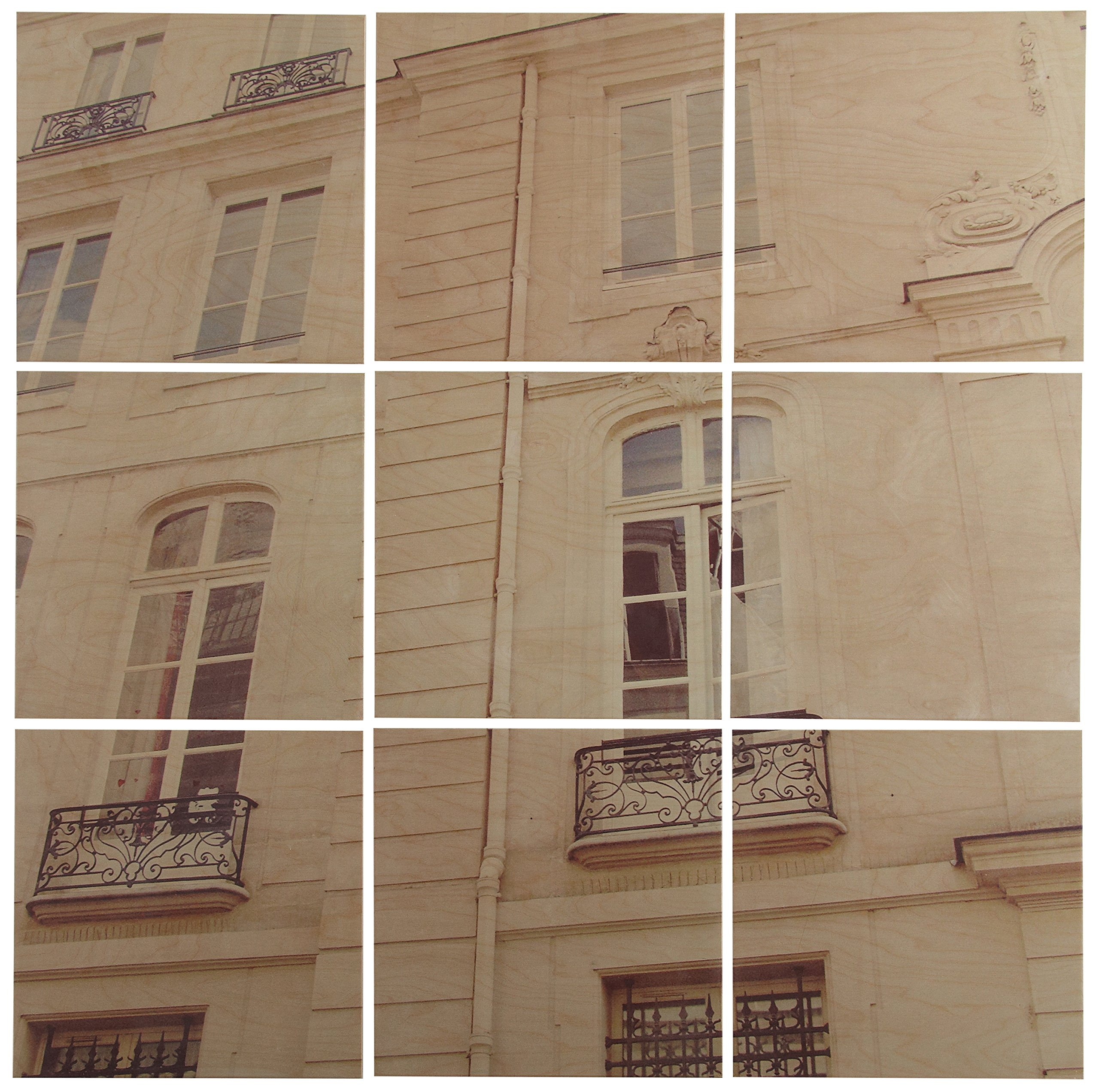 Modern 9-Piece Mural of White Paris Building on Wood, 36'' x 36'' by Stone & Beam