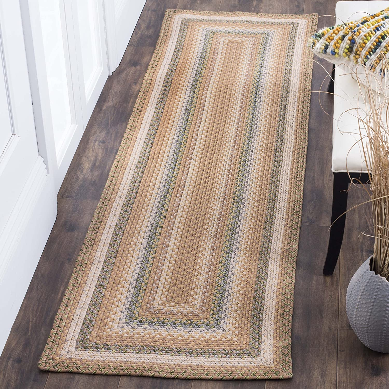 Safavieh Braided Collection BRD314A Hand Woven Tan and Multi Runner, 2 feet 3 inches by 8 feet (2'3 x 8') BRD314A-28