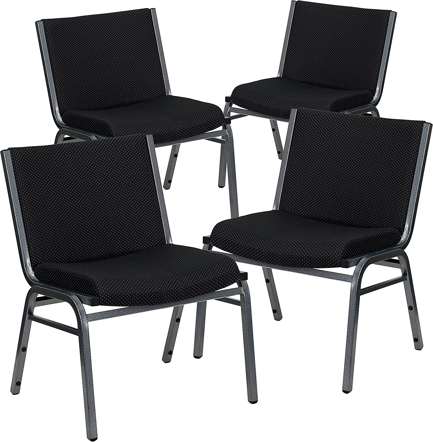 Flash Furniture 4 Pk. HERCULES Series Big & Tall 1000 lb. Rated Black Fabric Stack Chair