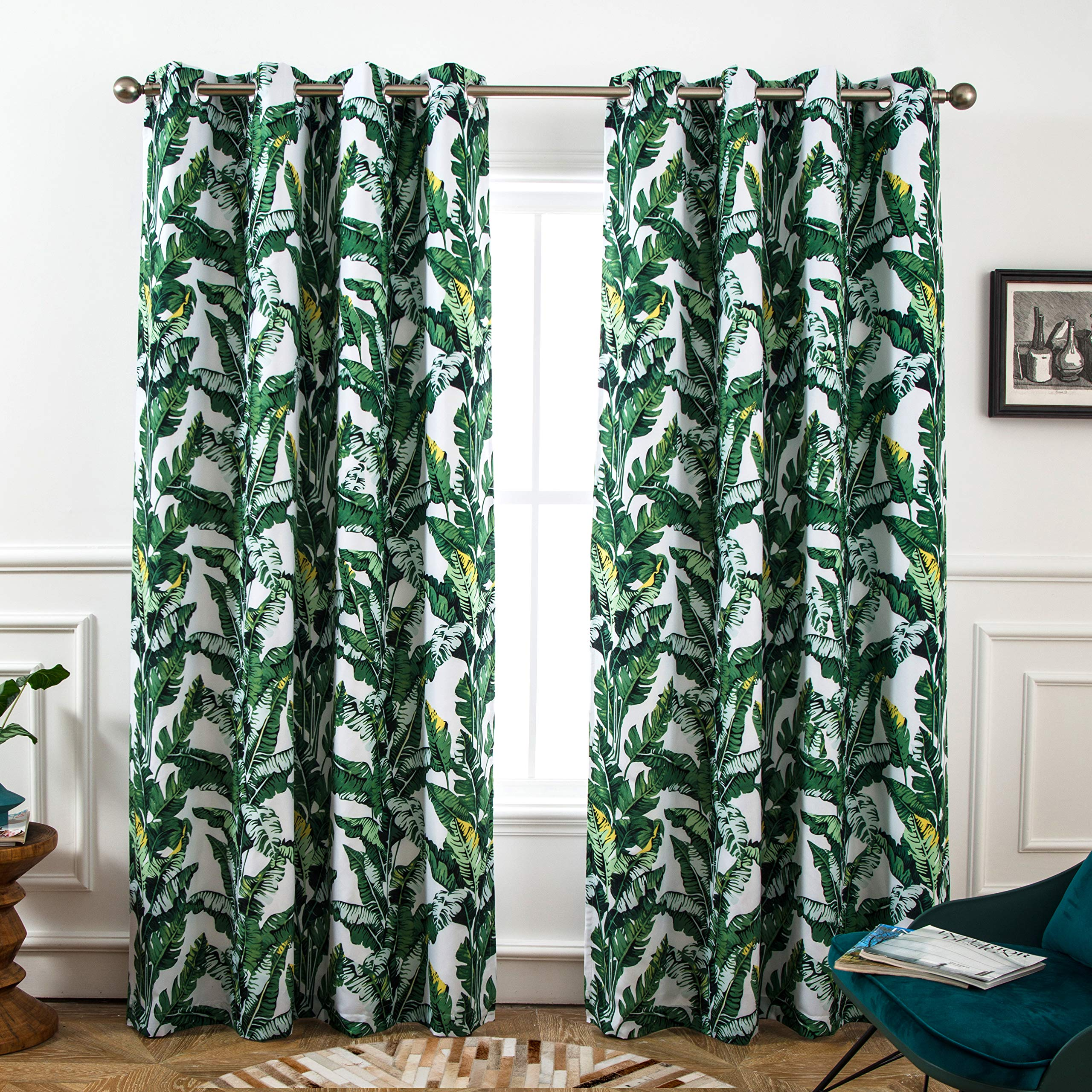 DriftAway Tropical Leaves Botanical Pattern Blackout Room Darkening Grommet Lined Thermal Insulated Energy Saving Window Curtains 2 Layers 2 Panels Each 52 Inch by 84 Inch Green by DriftAway