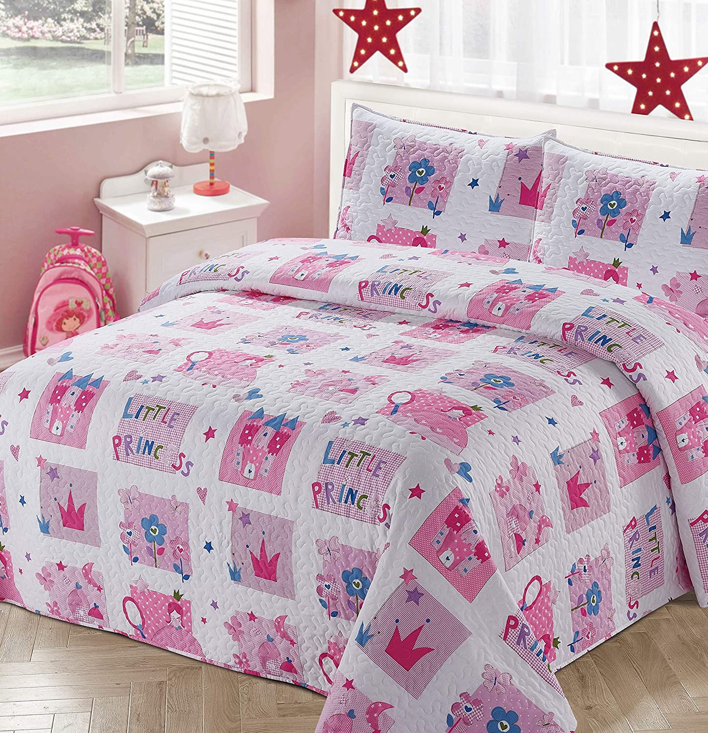 Kids Zone Home Linen 3pc Full/Queen Bedspread Coverlet Quilt Set for Girls Princess Castle Crown Flowers Pink Blue White