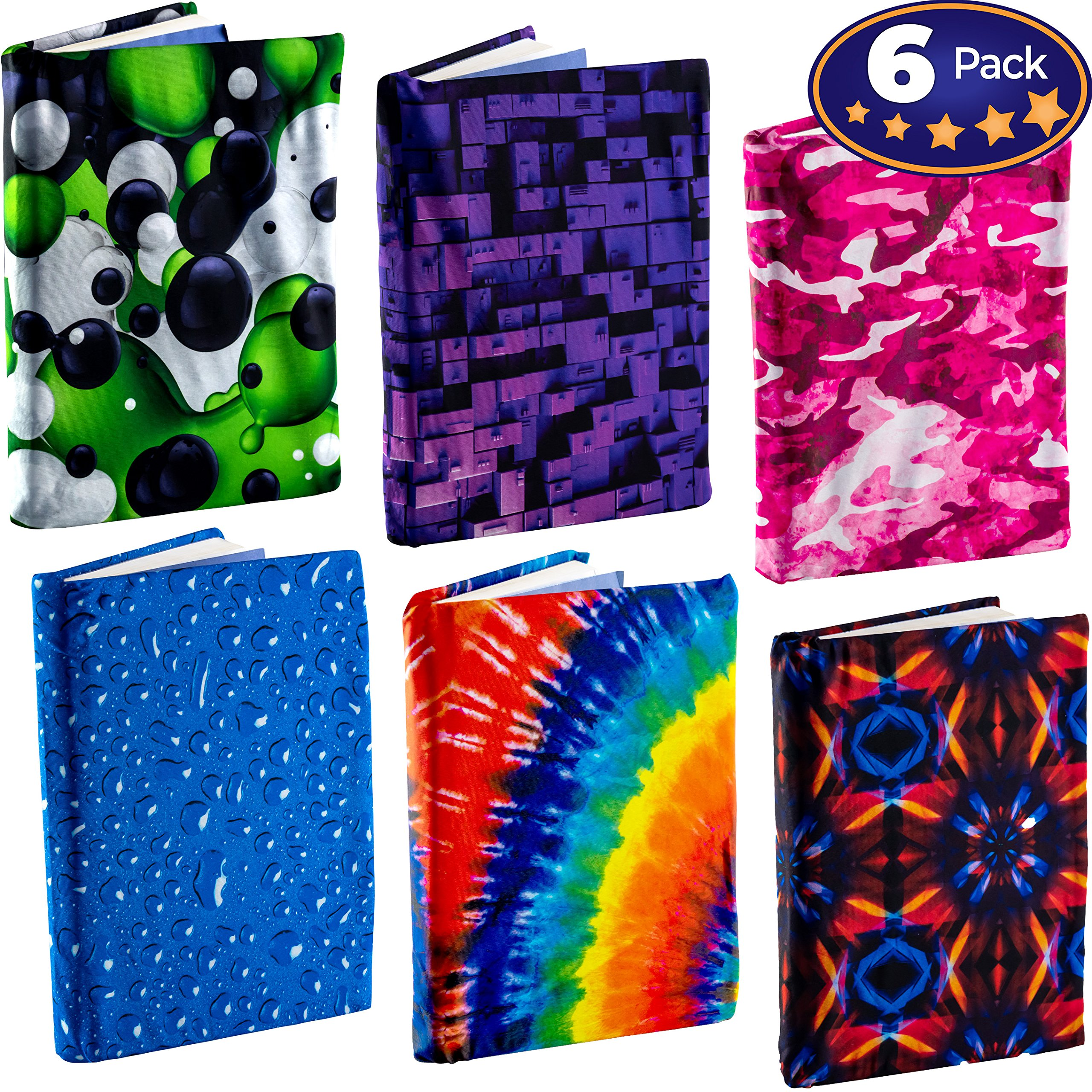 Jumbo, Stretchable Book Cover 6 Design Pack. Fits Most Hardcover Textbooks Up to 9'' x 11''. Our Adhesive-Free, Nylon Fabric Protector Set is A Needed School Supply for Students. Washable and Reusable