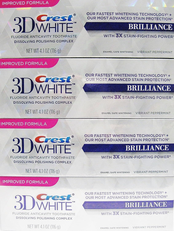 Crest 3D White Brilliance,+ Advance Stain Protecrion ,Vibrant peppermint Flavor 4.1 Oz Each (pack of 4)