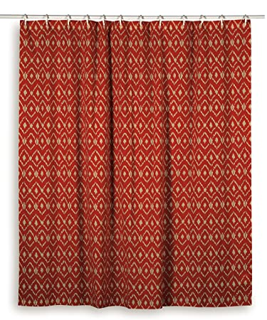Rizzy Home Ikat Shower Curtain, Red/Ivory