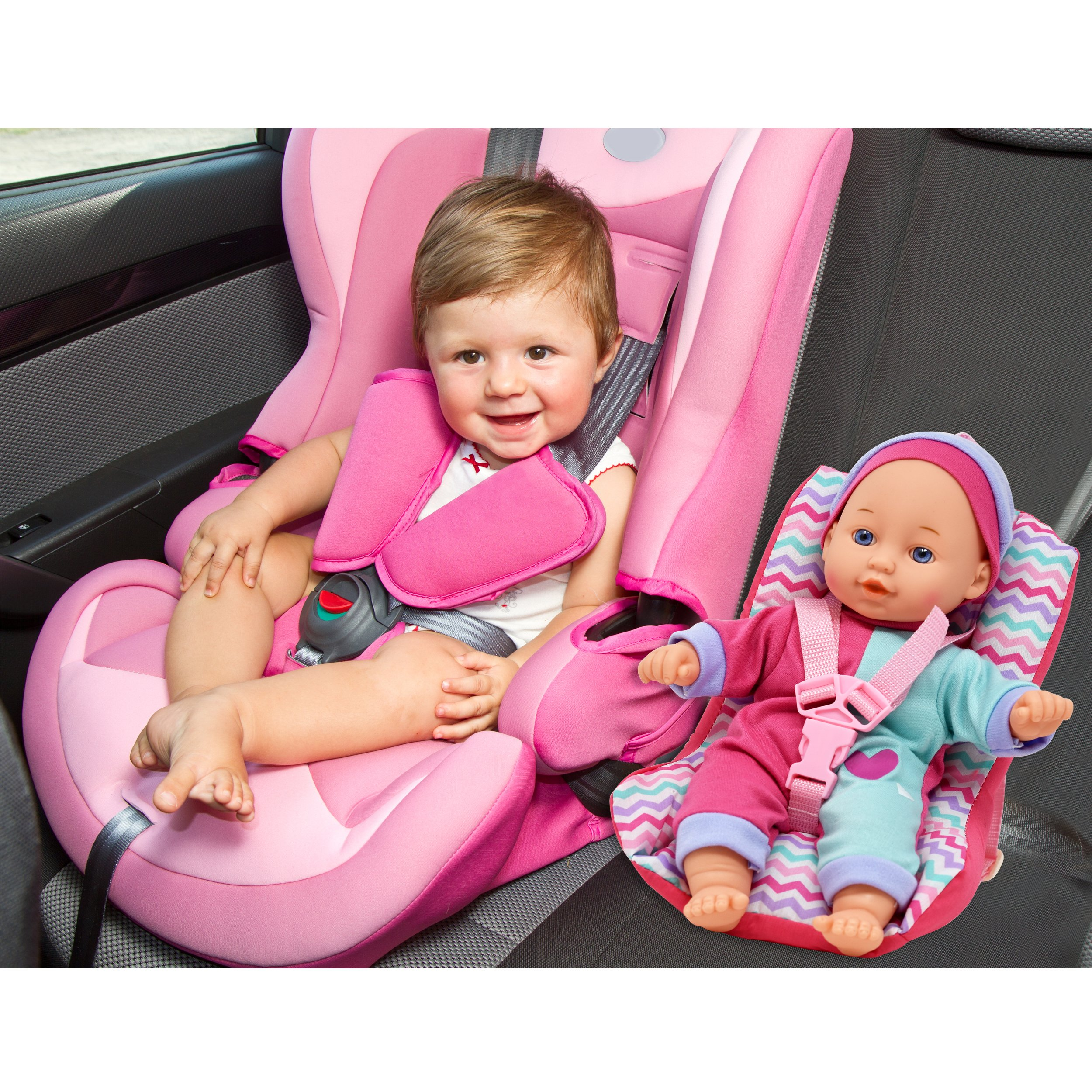 Baby Doll Car Seat with Toy Accessories, Includes 12 Inch Soft Body Doll, Booster Seat Carrier
