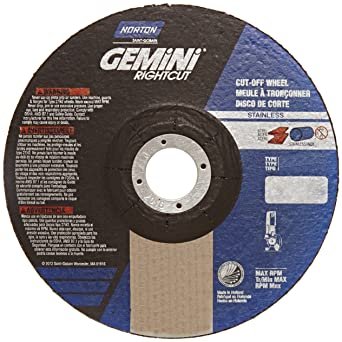 Norton Gemini Right Cut Right Angle Grinder Reinforced Abrasive Flat Cut Off Wheel Type 27 Aluminum Oxide 7 8 Arbor 6 Diameter X 0 045 Thickness Pack Of 25 Abrasive Cutoff Wheels Amazon Com Industrial