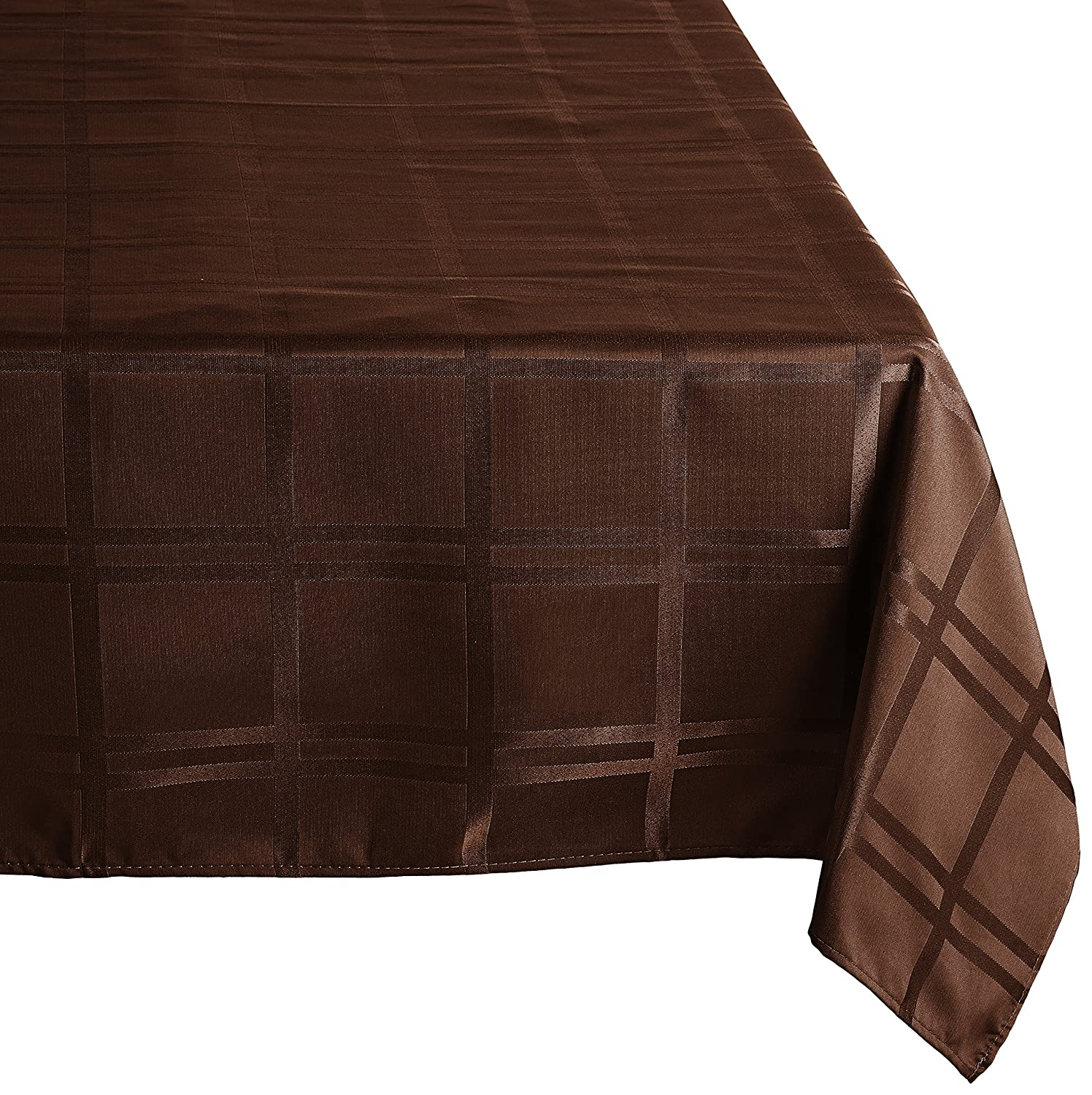 Cuisinart Easy Care Spill-Proof Microfiber Fabric Round Formal Tablecloth, 70 inch, Brown
