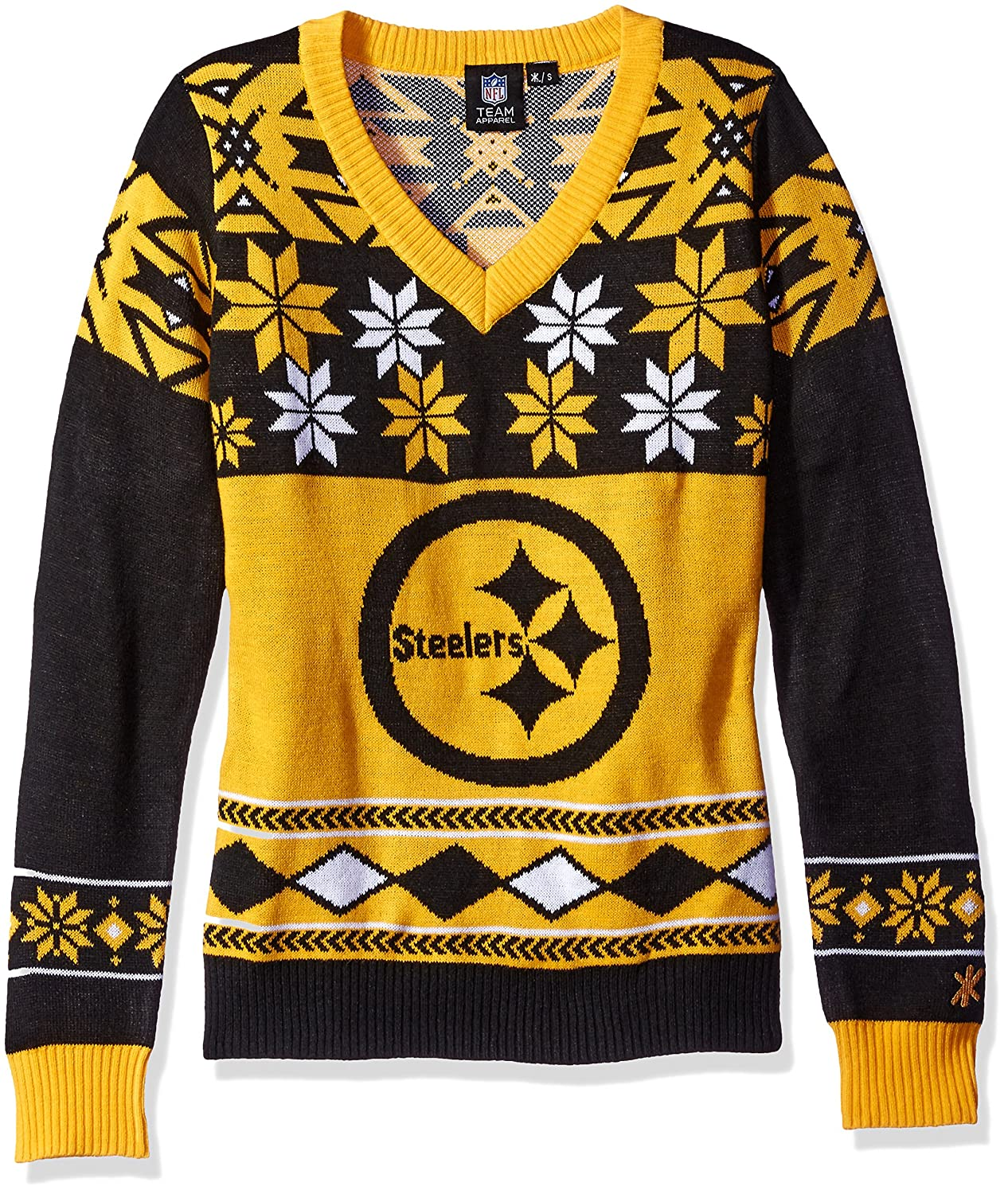 low priced 74e86 9199c Klew Pittsburgh Steelers Women's NFL Big Logo Ugly V-Neck Sweater