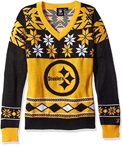 f17375cc Klew Pittsburgh Steelers Women's NFL Big Logo Ugly V-Neck Sweater