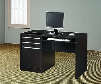 coaster contemporary computer workstation office desk table. Coaster Connect-It Desk, Cappuccino Contemporary Computer Workstation Office Desk Table S