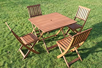 Victoria Quality Solid Hardwood Square Garden Dining Table and 4 Folding Chairs & Victoria Quality Solid Hardwood Square Garden Dining Table and 4 ...