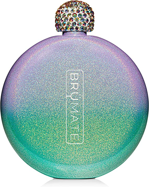 Brümate Holographic Glitter Spirit Flask - 5oz Stainless Steel Pocket & Purse Liquor Flask with Rhinestone Cap - Cute