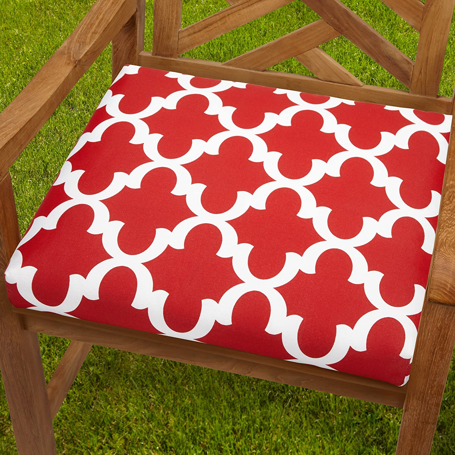 Mozaic AZCS2955 Indoor or Outdoor Square Chair Seat Cushions Set, Set of 2, 19 inches, Red White
