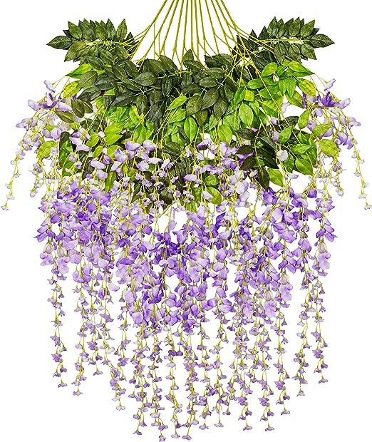 "12-Stem Artificial Purple Wisteria 24/"" Bush Hanging Silk Flowers Wedding Decor"