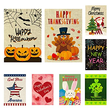 Halloween Thanksgiving Christmas Clipart.Watinc 8 Pack Seasonal Garden Flags For Happy Halloween Thanksgiving Welcome Fall Winter Merry Christmas New Year Holiday Decorations Double Sided
