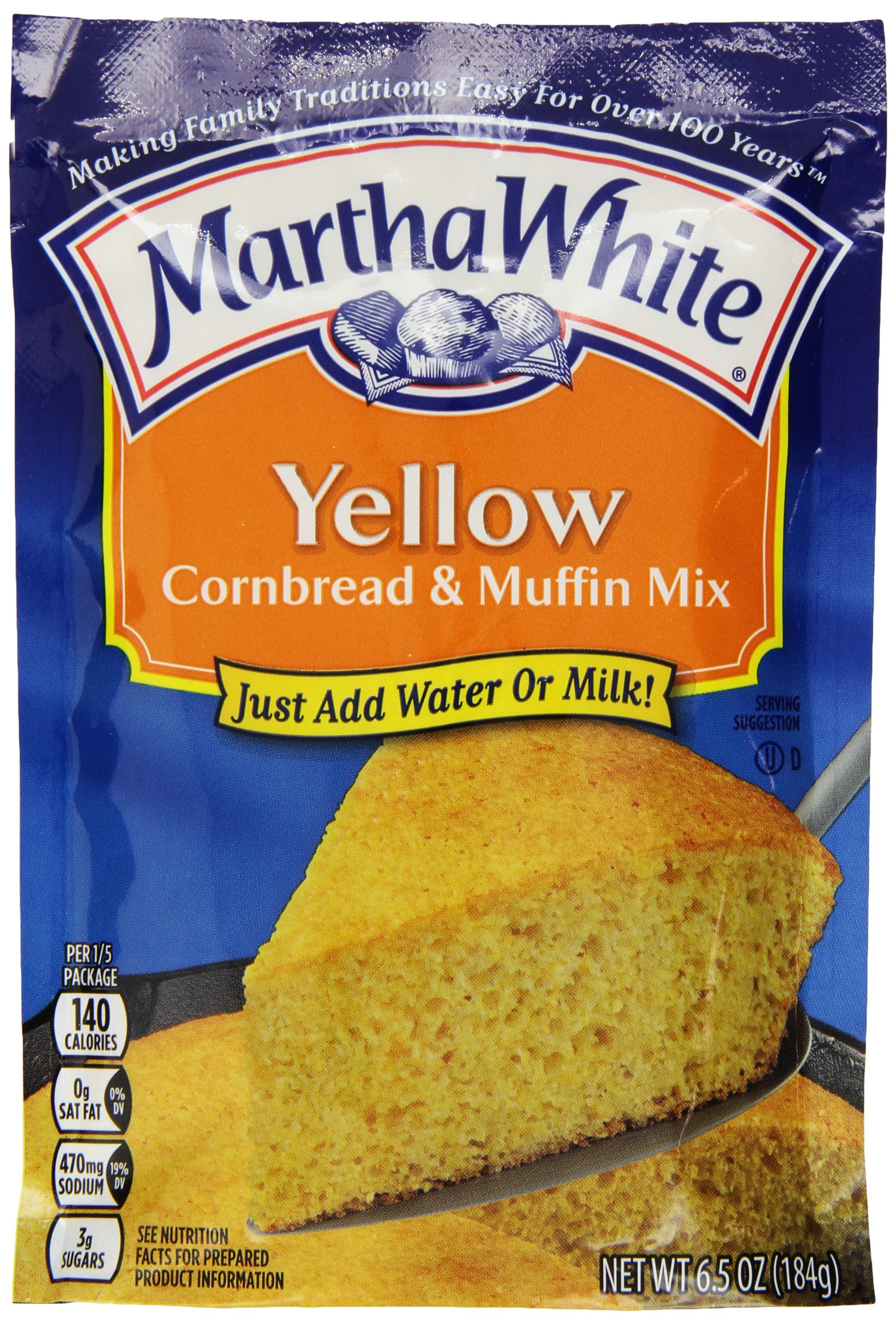 Martha White Yellow Cornbread and Muffin Mix, 6.5-Ounce (Pack of 12)