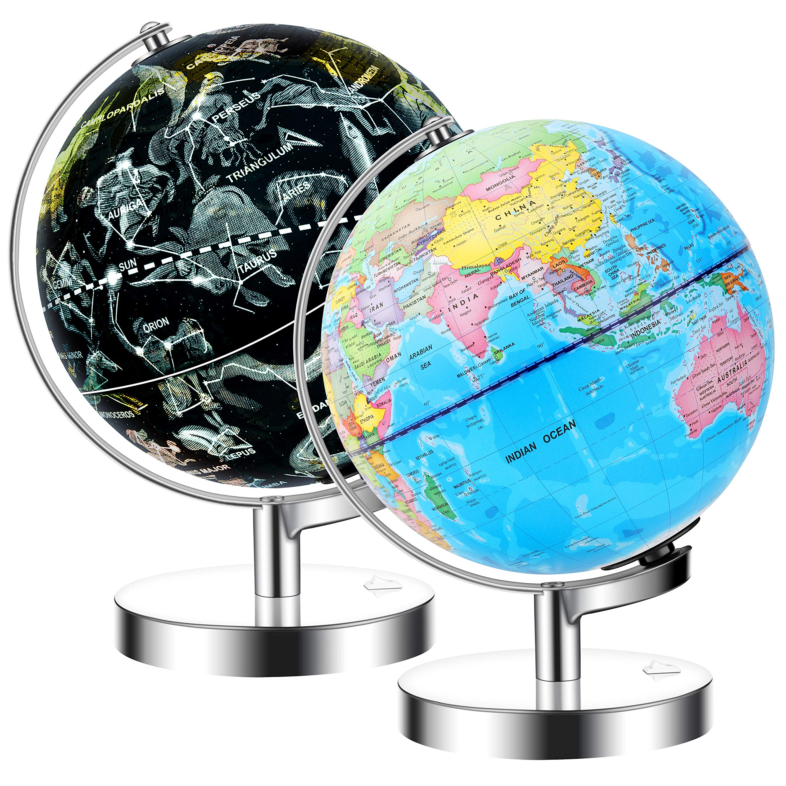 JARBO 8 inches Illuminated Constellation World Globe for Kids with Stand, Built-in LED Light Illuminates for Night View of Constellation, Learning Gift Detailed Globe for Kids, Powered by Battery