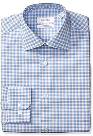 bf96380765e Calvin Klein Men s Dress Shirts Non Iron Regular Fit Stretch Plaid ...