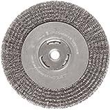 "Weiler Vortec Pro Wide Face Wire Wheel Brush, Round Hole, Carbon Steel, Crimped Wire, 8"" Diameter, 0.014"" Wire Diameter, 5/8"" Arbor, 1-3/8"" Bristle Length, 1"" Brush Face Width, 6000 rpm"