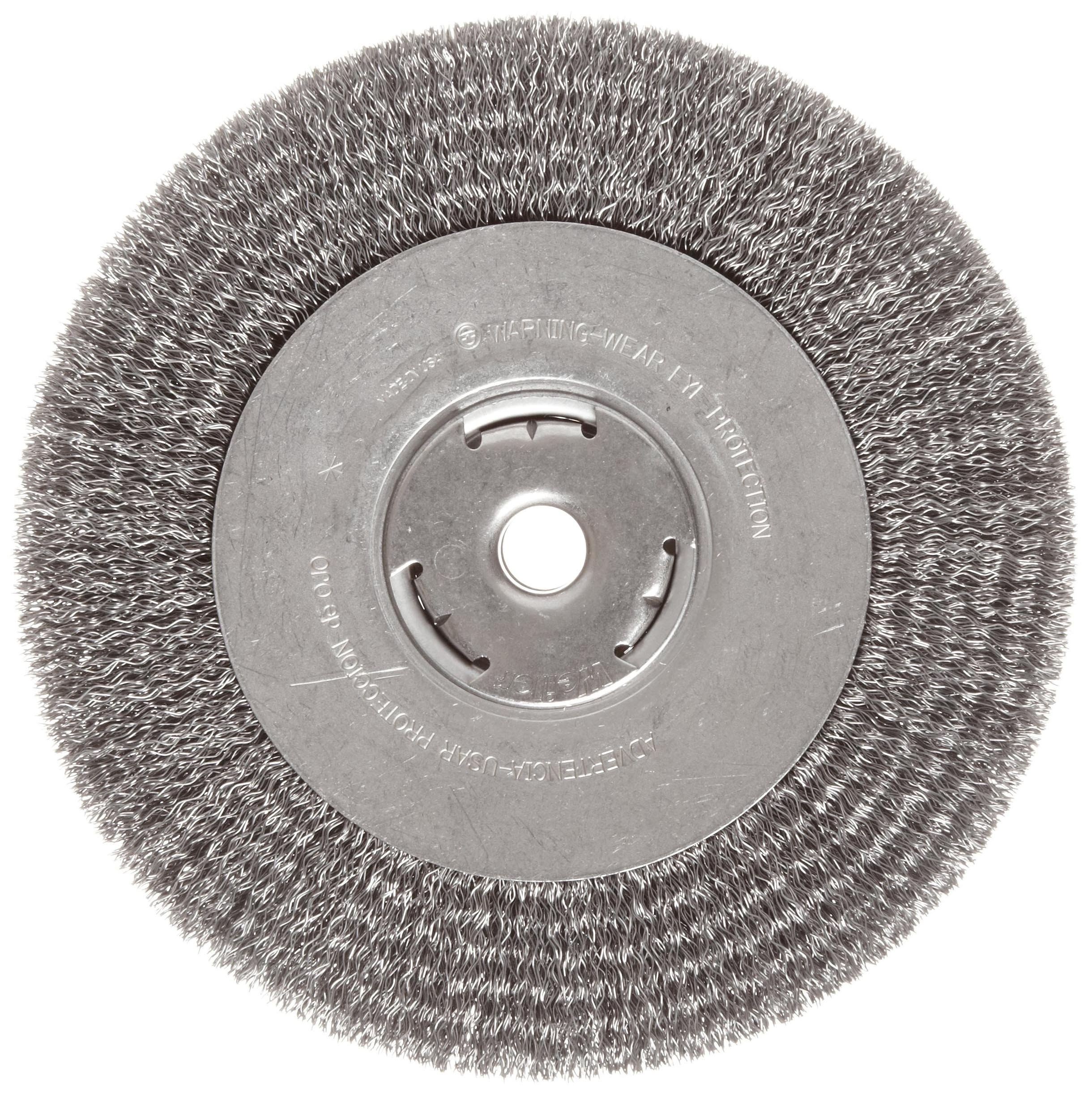 Weiler Vortec Pro Wide Face Wire Wheel Brush, Round Hole, Carbon Steel, Crimped Wire, 8'' Diameter, 0.014'' Wire Diameter, 5/8'' Arbor, 1-3/8'' Bristle Length, 1'' Brush Face Width, 6000 rpm by Weiler
