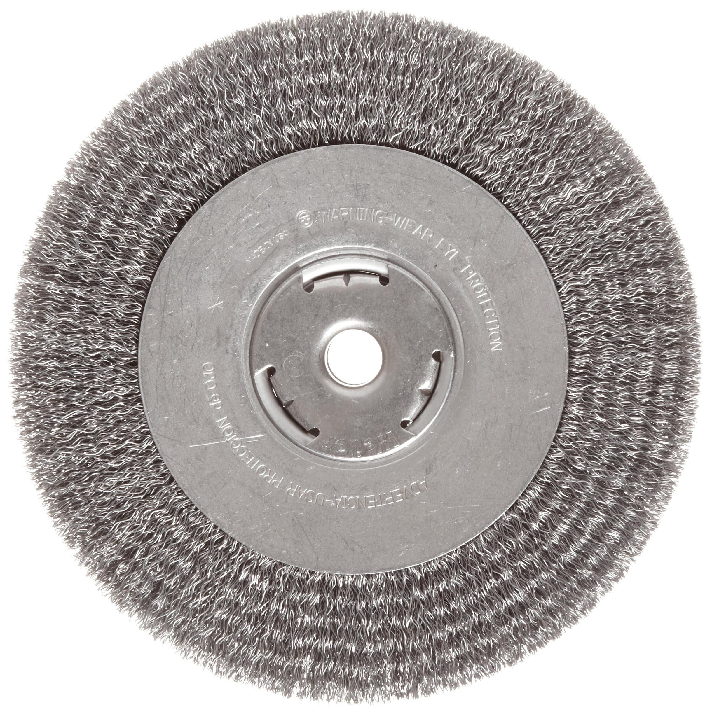 Weiler Vortec Pro Wide Face Wire Wheel Brush, Round Hole, Carbon Steel, Crimped Wire, 8'' Diameter, 0.014'' Wire Diameter, 5/8'' Arbor, 1-3/8'' Bristle Length, 1'' Brush Face Width, 6000 rpm