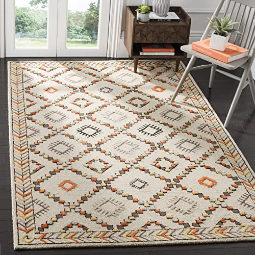Safavieh Bellagio Collection BLG548A Ivory and Multicolored Premium Wool Area Rug 9 x 12