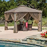 Great Deal Furniture Sonoma   Outdoor Fabric/Iron Gazebo Canopy   in Light Brown