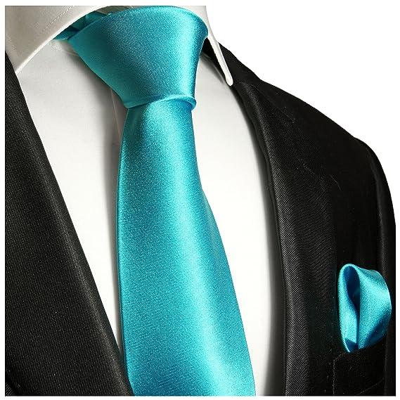 P.M. Krawatten Paul Malone Corbata de seda turquesa (165cm extra ...