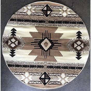 southwest round native american area rug ivory design c318 5 feet x 5 feet round. Black Bedroom Furniture Sets. Home Design Ideas