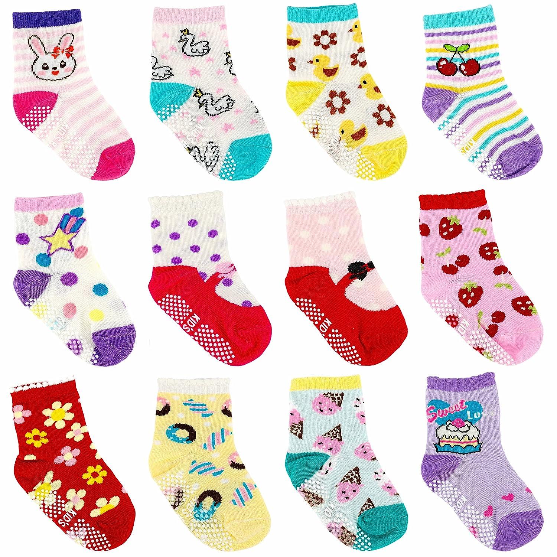 Ateid Calzini Antiscivolo Bambini Neonati Confezione da 12 Multicolore 1-3 Anni