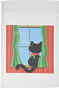 3dRose fl_155257_1 Merry Christmas - Cute Black Cat in Snowy Window Garden Flag, 12 by 18-Inch
