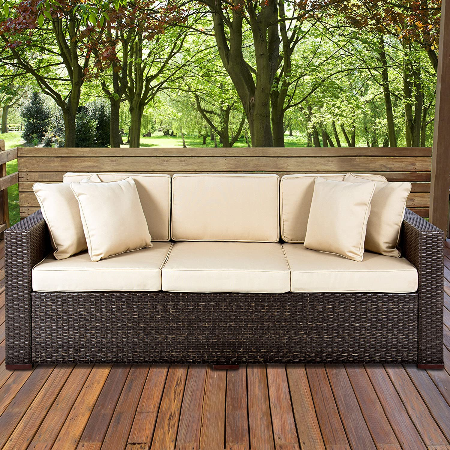 Amazon com best choice products 3 seat outdoor wicker sofa couch patio furniture w steel frame and removable cushions brown garden outdoor