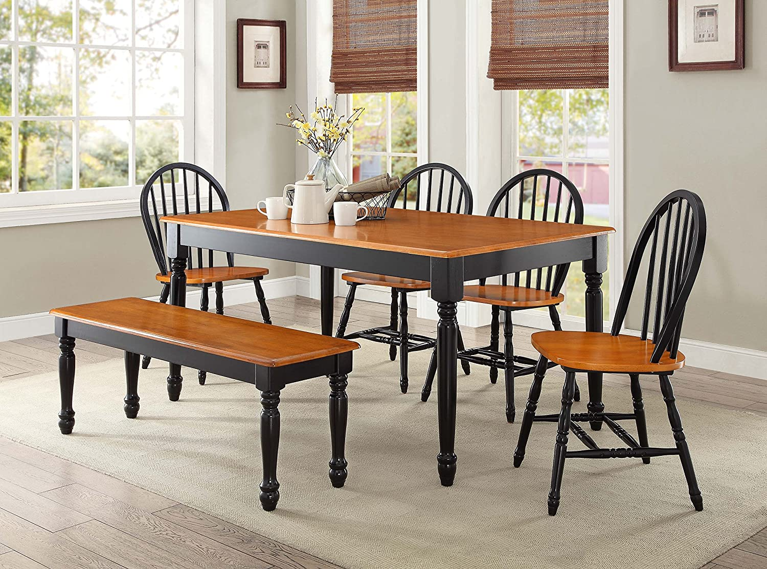 Amazon Com Better Homes And Gardens Autumn Lane 6 Piece Dining Set Black And Oak By Better Homes Garden Outdoor