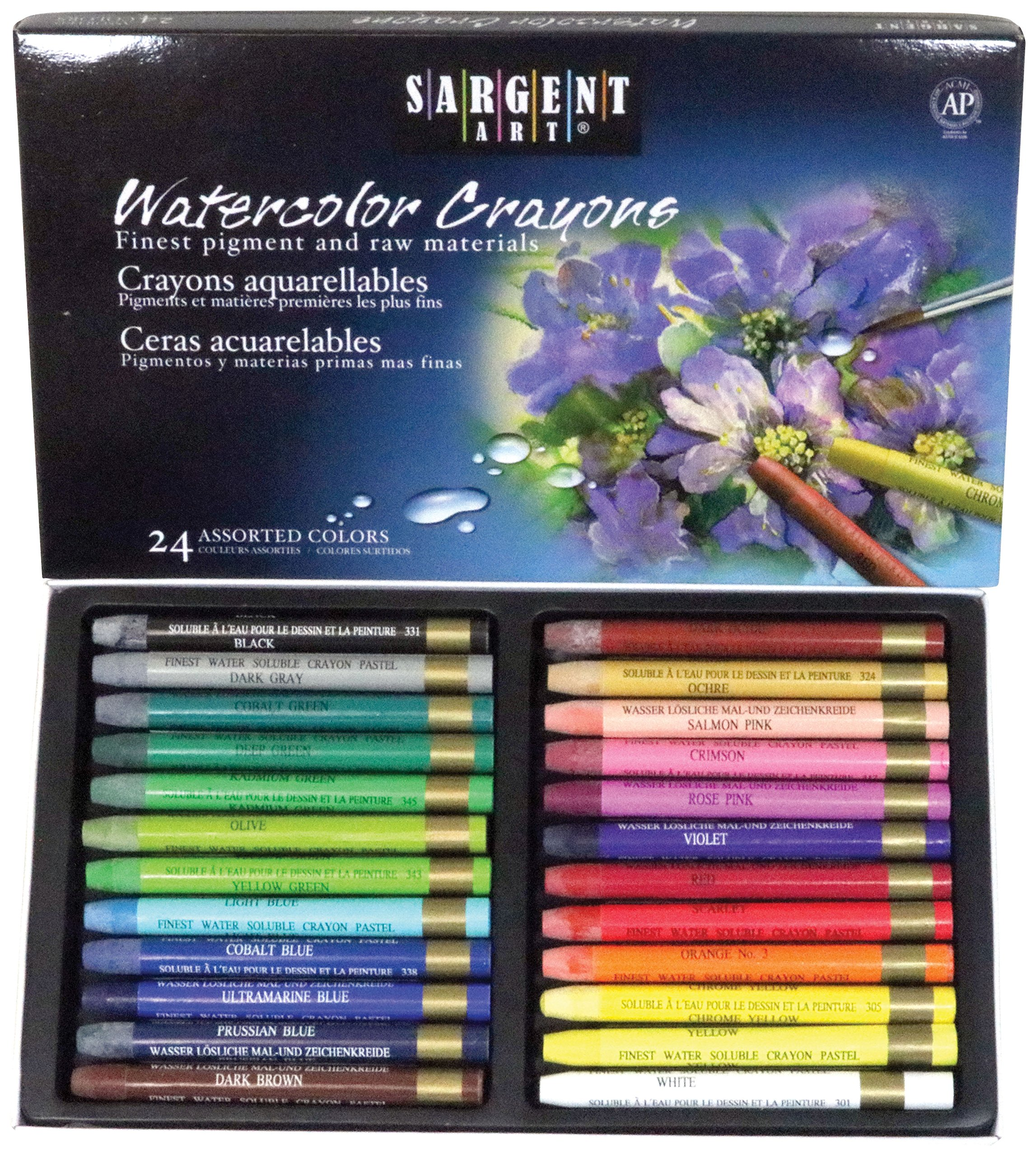 Sargent Art 22-1124 Artist Quality 24 Premium Watercolor Crayons