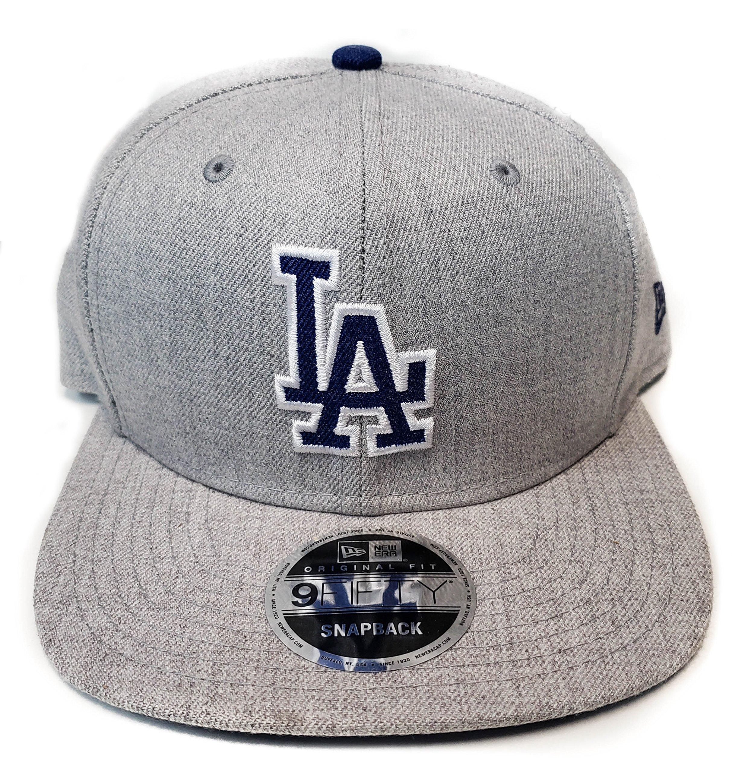 0558b014 New Era Og Fits Los Angeles Dodgers Grey Blue Heather Snapback Hat ...
