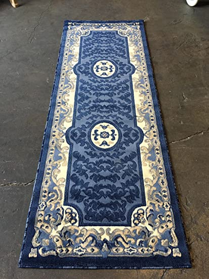 Amazoncom Traditional Wide Runner Area Rug Blue Design 101 32