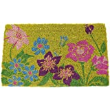 Entryways Wildflower Power Hand Woven Coir Doormat, 18 by 30-Inch