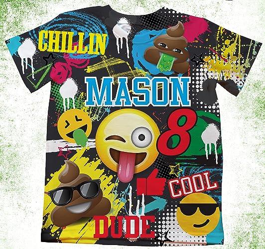Amazon Personalized Emoji T Shirt Birthday Custom Boys Shirts Theme Handmade