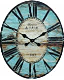 Creative Co-op Antiquite De Paris Wood Oval Wall Clock, 29.5 by 24-1/4-Inch